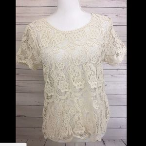 Joie Shirt Top Ivory Sheer Floral Lace